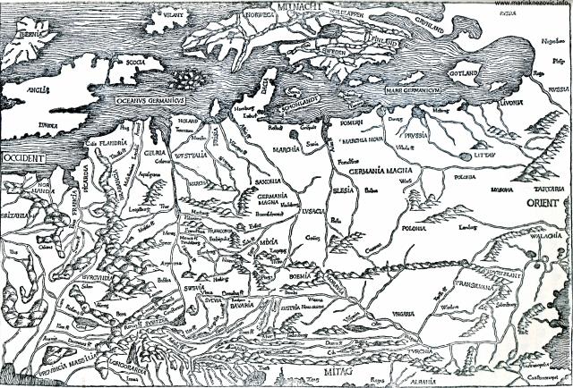 """Karta srednje Europe iz """"Svjetske kronike"""" Hartmana Schedela, 1493."""