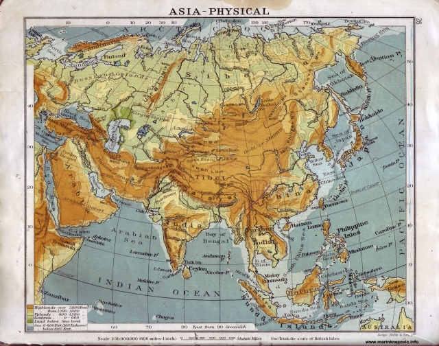 Fizička karta Azije / Asia - physical