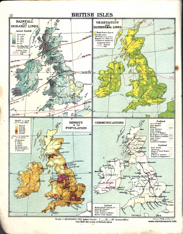 Britanski otoci, Linije padavina i isobara, Vegetacija i isotermalne linije, Gustoća stanovništva, Komunikacije / British Isles, Rainfall and isobaric lines, Vegetation and isothermal lines, Density of the Population, Communications.