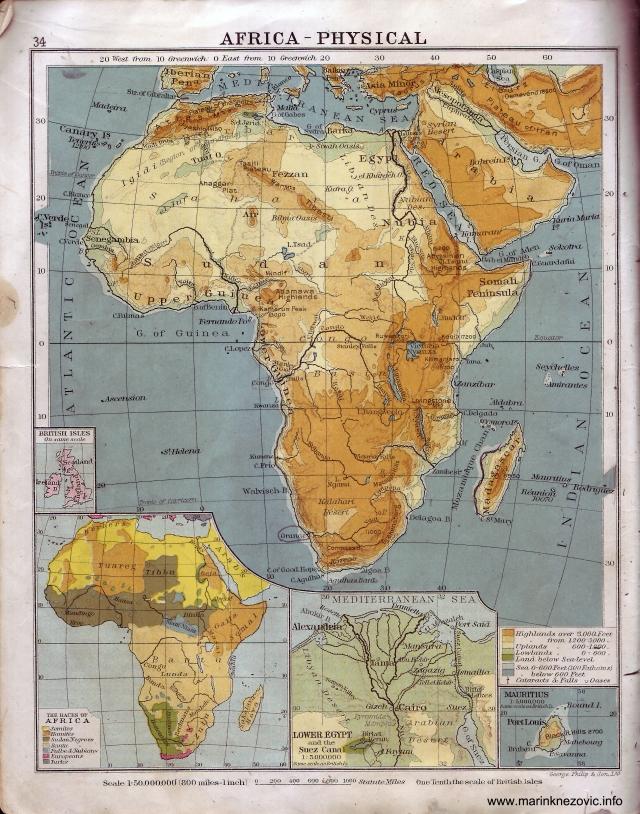 Afrika - fizička karta / Africa - Physical
