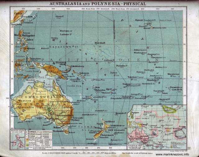 Australija i Polinezija - fizička karta / Australia and Polynesia - Physical