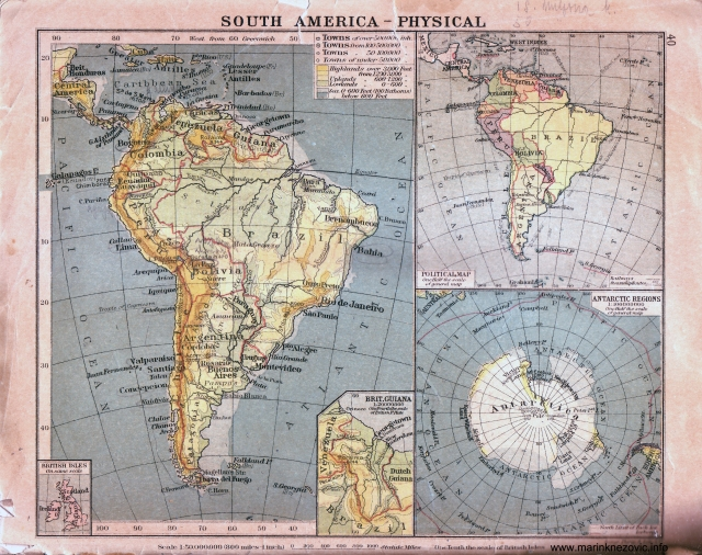 Fizička karta Južne Amerike / South America - physical