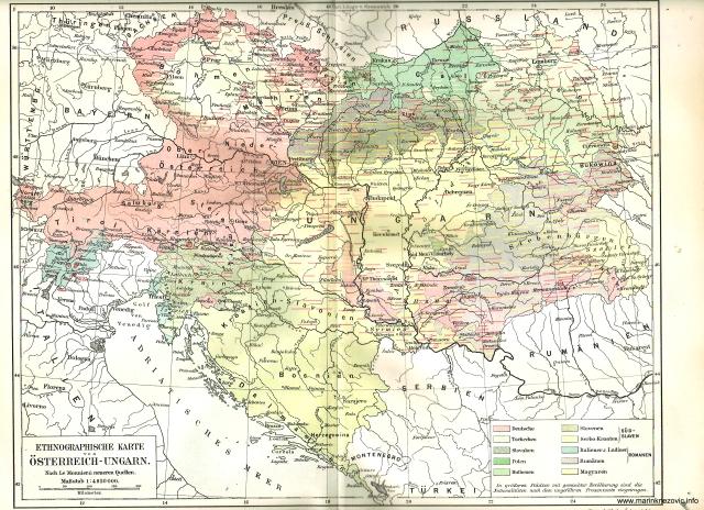 Etnografska karta Austro - Ugarske /Ethnographische Karte von Österreich - Ungarn