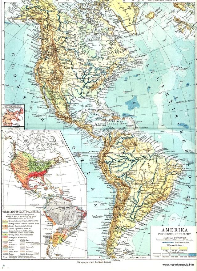 Amerike, fizički pregled, Gospodarska karta Amerika / Amerika, physische Übersicht, Wirtschafts-karte von Amerika