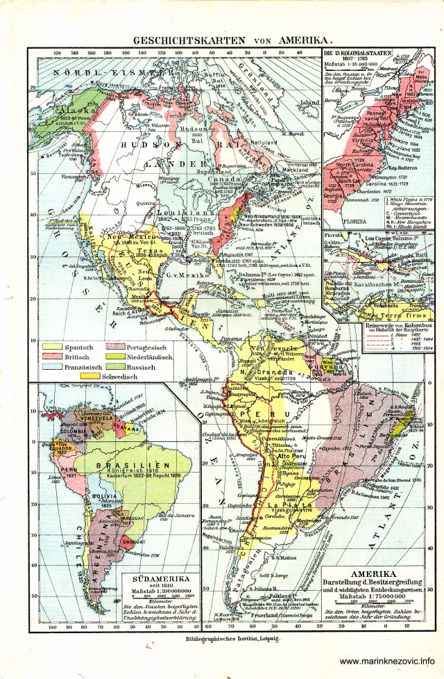 Povijesne karte Amerika / Geschitskarten von Amerika