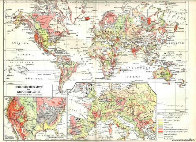 Geološka karta zemljine površine / Geologische Karte der Erdoberfläche