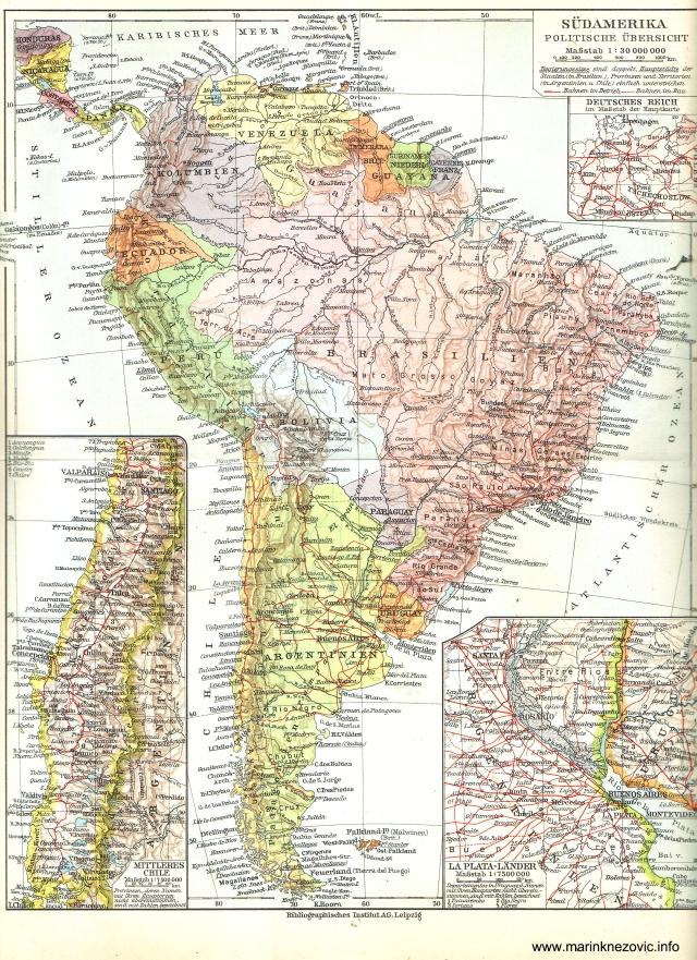 Južna Amerika - politički pregled / Südamerika - politische Übersicht