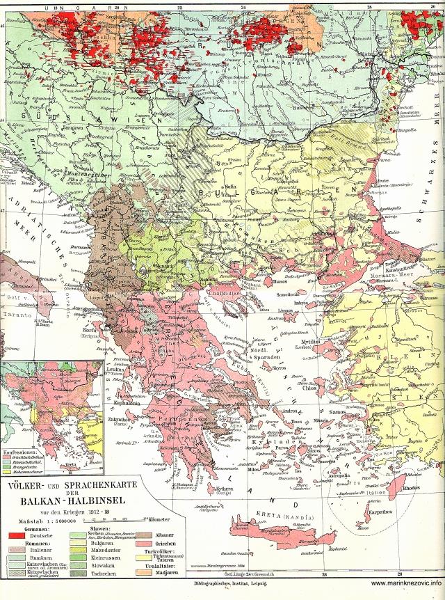 Völker und Spraschskarte der Balkan - Halbinseln /Karta naroda i jezika Balkana