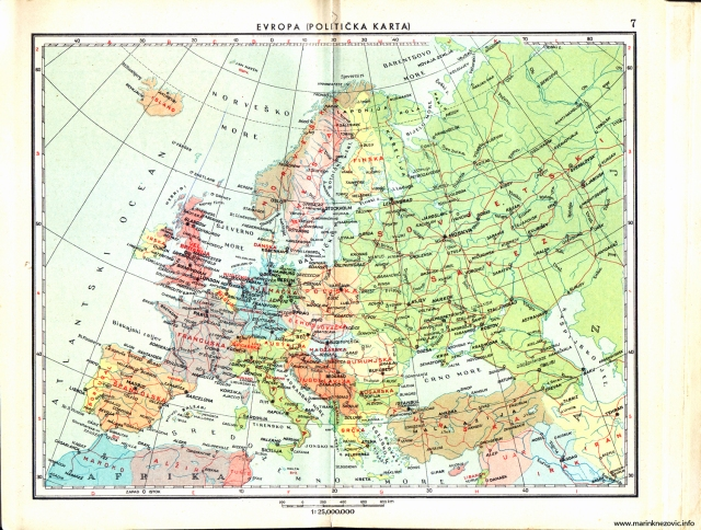 Politička karta Europe 1962.
