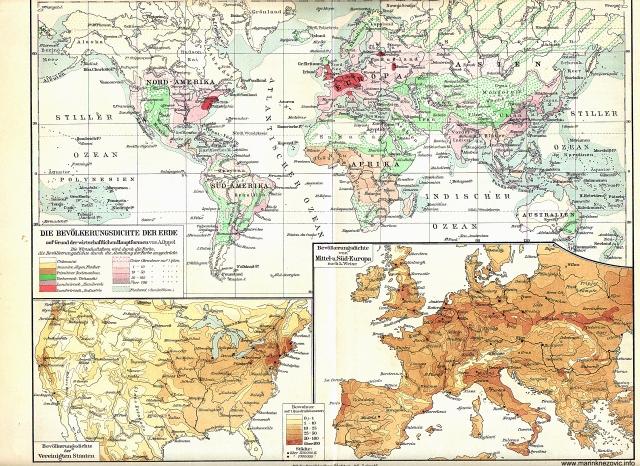 Die Bevölkerungsdichte der Erde / Gustoća naseljenosti svijeta