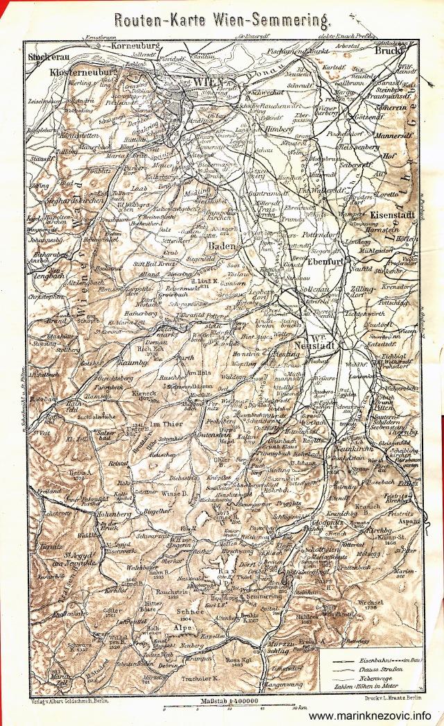 Routen - Karte Wien - Semmering / Cestovna karta Beč - Semmering