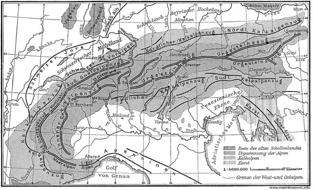 Geološka karta zapadnih Alpa