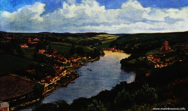 Kultivirani engleski krajolik u dolini rijeke Yealm (kod Plymoutha)/ Englishe Parklandschaft am Yealm von Plymouth in Frühling