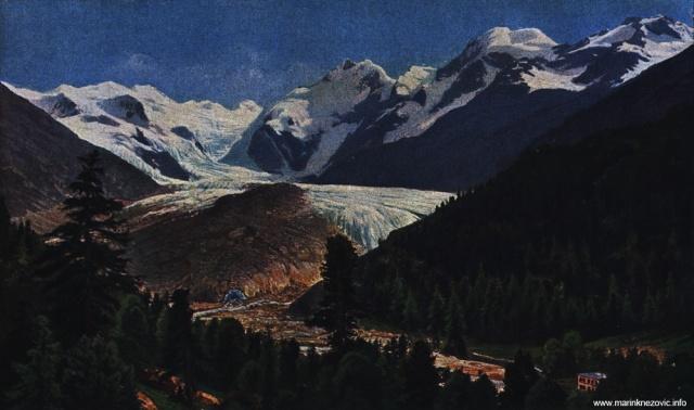 Glečer Morteratsch u Švicarskoj / Blick auf den Moerteratsch Gletscher von der Berninastrasse aus.