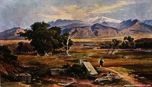 Krajolik središnje Grčke. Pogled na Parnas / Landschaft mittelgrichenlands. Der Parnas (2460m), von Südwesten aus gesehen.