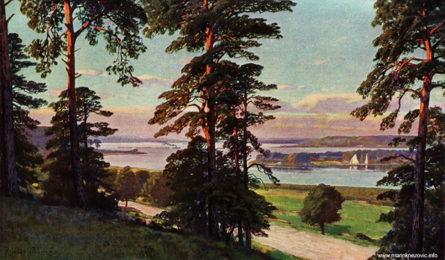 Pogled na rijeku Havel i otok Lindwerder / Blick von den Havelbergen des Grunwaldes auf die Havel bei Insel Lindwerder