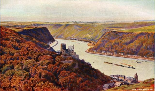 Rajna kod Sv. Goarhausena i dvorac Katz / Der Rhein bei St. Goarhausen und Burg Katz