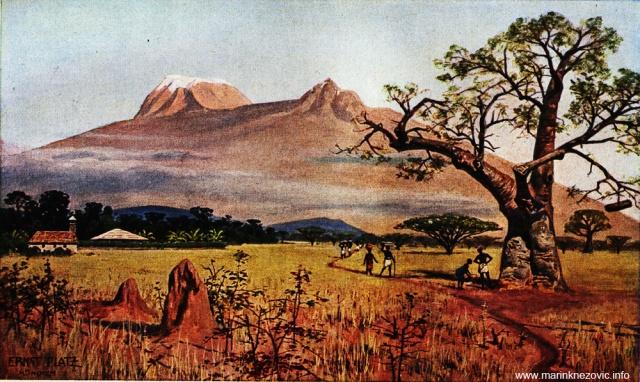Kilimandžaro gledan iz ravnice Lendjoro / Der Kilimandscharo, von der Lendjoro-Steppe aus gesehen.