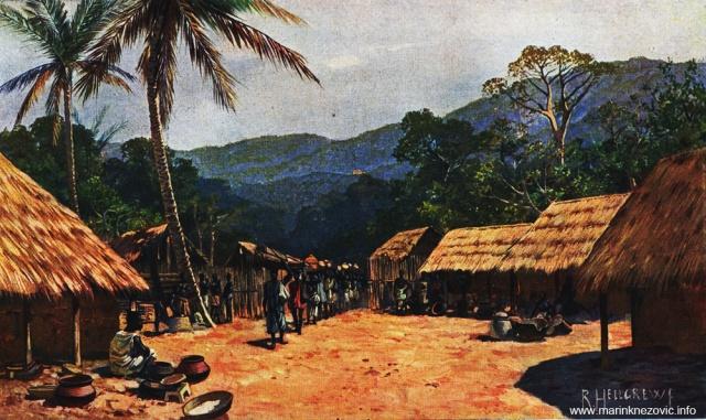 Selo naroda Ewa kod Bismarckburga (Konkoa) u Togu prilikom ulaska karavana naroda Haussa / Dorf der Ewe-Neger bei Bismarckburg (710 m) im Inneren Togos mit einziehender Haussa-Karawane